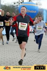 Zieleinlauf am Freiburg Marathon.