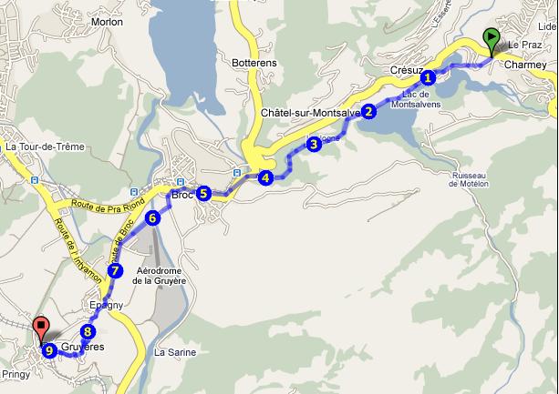 Google Maps-Ausschnitt - Wanderung: Charmey-Jaunbachschlucht-Broc-Gruyeres.