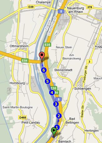 Google Maps Karteansicht: Bamlach Bad Bellingen und retour