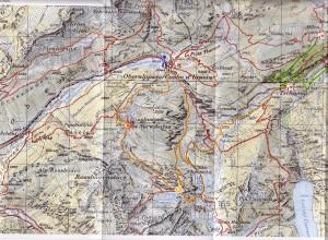 Karte Gebiet Disentis/Sedrun Oberalppass