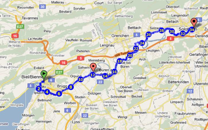 Velotour der Aare entlang: von Biel nach Solothurn