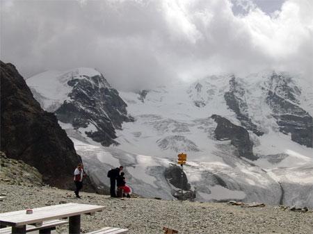 Diavolezza mit Blick auf Piz Palü, Piz Bernina etc. (leider im Nebel)